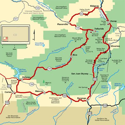 Map of the San Juan Skyway Near Durango, Colorado